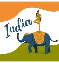 Yoga girl meditation on the indian elephant India vector image