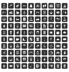 100 hotel services icons set black vector