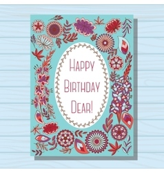 Blue happy birthday dear card on wooden background vector