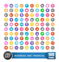 100 icons set of business and financial with color vector image