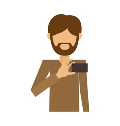 Half body of man of beard padlock take selfie vector