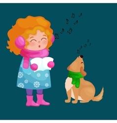 girl and dog singing christmas songs and jingle vector image