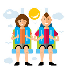 Couple in attraction park flat style vector