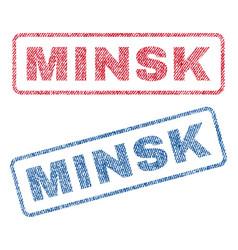 minsk textile stamps vector image