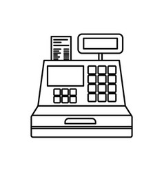 black silhouette of cash register vector image