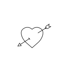 Heart with arrow line icon love sign valentines vector