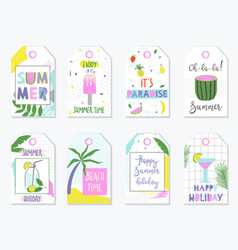 Bright summer gift tags and labels vector