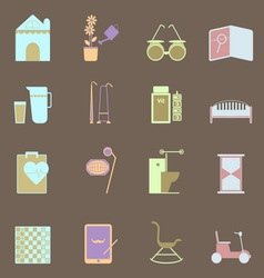 Elderly related colorful icons set vector