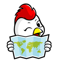 Happy rooster character holding a paper world map vector