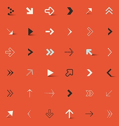 Arrows Set on Red Retro Background vector image