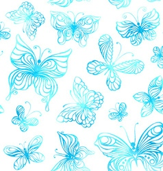 Seamless pattern of watercolor butterflies vector