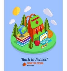 Back to school isometric background with pile of vector