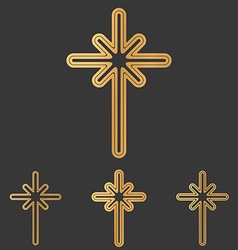Bronze line cross logo design set vector