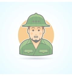 African explorer safari man icon vector