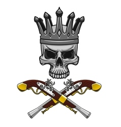 Crowned pirate skull with crossed pistols vector