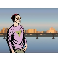 Boy hipster character man on vector