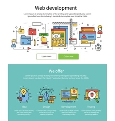 Colored web development banner set vector