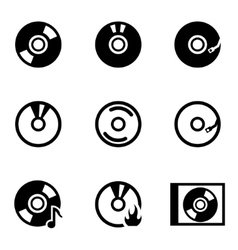 Black cd icon set vector