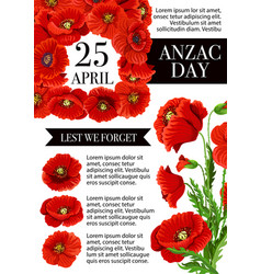 Anzac day lest we forget holiday poster vector