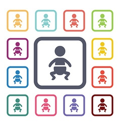 Baby flat icons set vector
