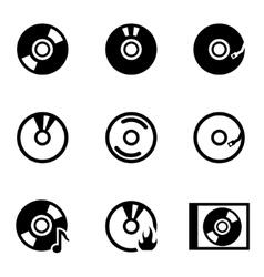 Black cd icon set vector