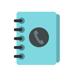 blue address book icon flat style vector image