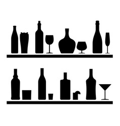bottles black silhouettes vector image