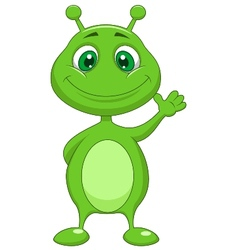 Cute green alien cartoon vector