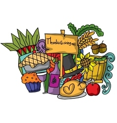 Doodle of thanksgiving color cartoon vector
