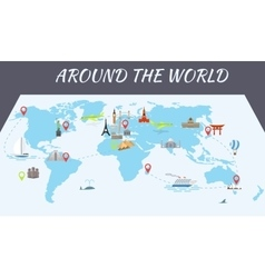 Famous world landmarks icons on the map vector image