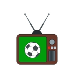 Football match on an old tv flat icon vector