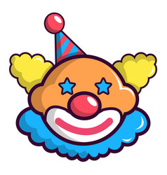 Funny clown head icon cartoon style vector