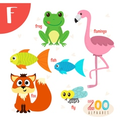 Letter F Cute animals Funny cartoon animals in vector image vector image