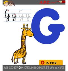 Letter g with cartoon giraffe vector