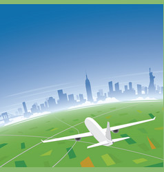 new york skyline flight destination vector image vector image
