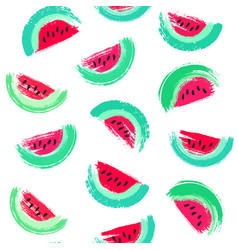 painted watermelon pattern vector image vector image