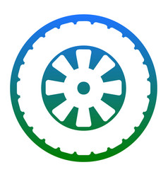 Road tire sign white icon in bluish vector