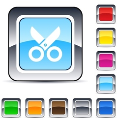 scissors square button vector image vector image