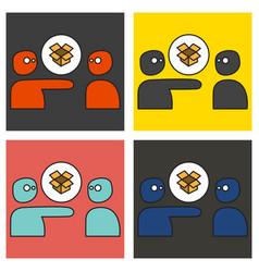 Set of dropbox color icon realistic icon or logo vector