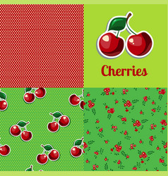 Set seamless texture cherry vector