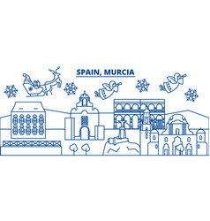 Spain murcia winter city skyline merry christmas vector