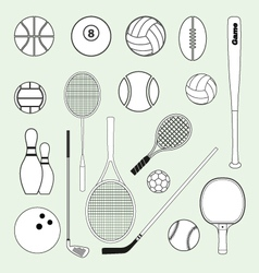 Sports Balls and Equipment vector image vector image