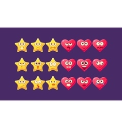Stars And Hearts Emoji Character Set vector image