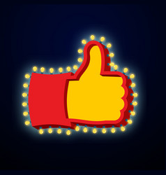 Thumb up sign with glowing lights like symbol of vector