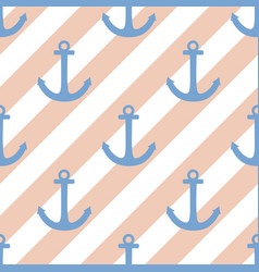 Tile sailor pattern with blue anchor and white vector