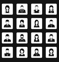 Various people icons set squares vector