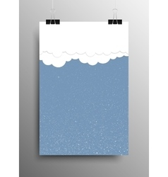 Vertical poster clouds snow christmas new year vector