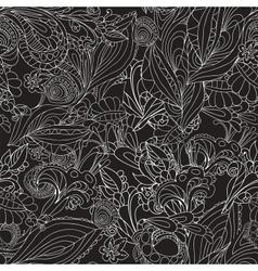 Vintage black floral seamless pattern vector image vector image