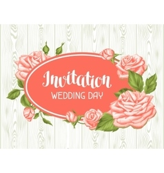 Wedding invitation card template with roses vector