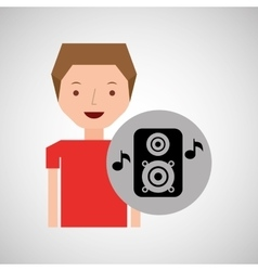 Young boy music concept speaker vector